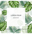 realistic tropical plants floral card vector image