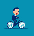 ride a bicycle with globes for wheels moving the vector image
