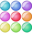 Round badges in nine colors vector image