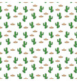 seamless pattern mexican sombrero hat and cactus vector image vector image