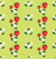 seamless pattern with strawberries leafs and vector image vector image