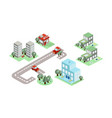 set of isometric city elements buildings vector image