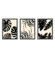 set of three abstract minimalist aesthetic floral vector image