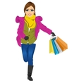 shopping woman with gift bag running joyful vector image