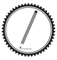 Silhouette of a pencil in a circular frame vector image vector image