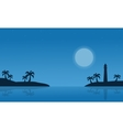 Silhouette of island on seaside scnery vector image vector image