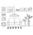 sketch of living room cozy interior vector image