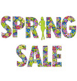 spring sale background with woman silhouette vector image vector image