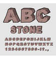 Stone ABC Rock font Set of letters from brown vector image