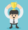 Successful businessman with gold cup vector image