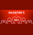 valentine day banner outline price tag heart vector image vector image