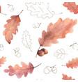 watercolor seamless pattern autumn oak leaves vector image