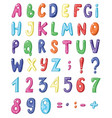 cute cartoon english coloured alphabet and set of vector image