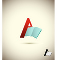 logo letter A with an open book Concept design for vector image