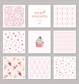 cute card templates and seamless patterns set for vector image