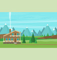 chalet wooden house eco house house on the nature vector image