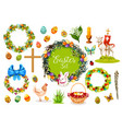 easter holiday symbols with egg rabbit chicken vector image