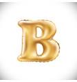metallic gold b balloons golden letter new year vector image