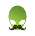ufo hipster with mustache alien head isolated vector image