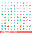 100 cleaning icons set cartoon style vector image vector image