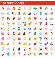 100 gift icons set isometric 3d style vector image vector image