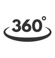 360 review black icon shape for panoramic view vector image vector image