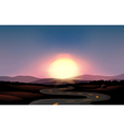 A winding road and the sunset vector image vector image