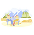 adorable senior couple sit on wooden bench in park vector image vector image