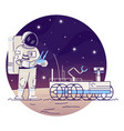 astronaut with moon rover flat concept icon vector image vector image
