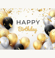 birthday balloon background golden anniversary vector image