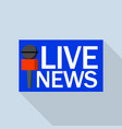 blue live news logo flat style vector image