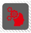 Brain Mechanics Rounded Square Button vector image