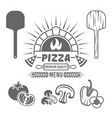 brick oven and pizza black emblem or label vector image vector image