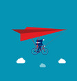 businessman ride hang gliding flying concept vector image