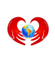 caring hands and global earth icon vector image vector image