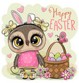 cartoon olw with a basket easter eggs vector image vector image