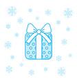 christmas present box and snowflakes vector image
