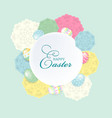 colorful happy easter greeting card with flowers vector image vector image