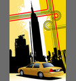 cover for brochure with new york and taxi cab vector image