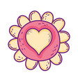 cute flower with heart love vector image