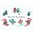 cute winter owls banner baby birds and sport vector image vector image