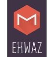 Ehwaz rune of Elder Futhark in trend flat style vector image vector image