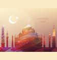 eid al-fitr greeting card watercolor mosque vector image vector image
