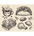 fast food hand drawn coffee cup tacos sandwich vector image vector image