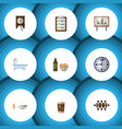 flat icon oneday set of tub watch boardroom and vector image vector image