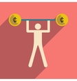 Flat with shadow icon man and the bar coins vector image vector image