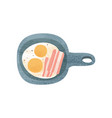 fried eggs with bacon in frying pan appetizing vector image