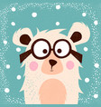 funny cute bear with glasses for print t-shirt vector image