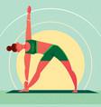girl in yoga triangle pose or trikonasana vector image vector image