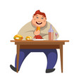 gluttony man eating people bad habits vector image